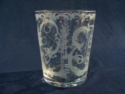Vintage Scandinavian Etched Glass Crystal Vase. Scenes Of Trees Deer Duck