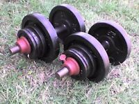 Metal Dumbbell barbell Weights and Bars 68.4 lb's 31 kg approx