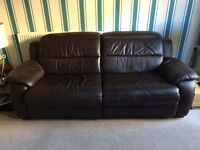 Leather sofas, dark brown: 3 seater (with 2 independent electric recliners) & matching 2 seater