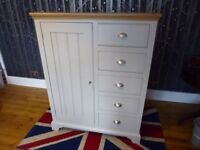 Combination wardrobe by John Lewis, solid wood painted in French grey, wood top