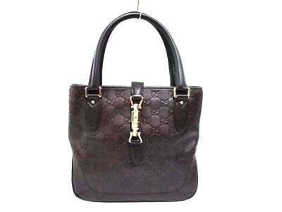 Auth GUCCI GG/New Jackie 145817 DarkBrown Leather Tote Bag