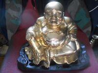 LARGE CHINESE BRASS BUDDHA ON STAND