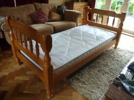 Good Quality Pine Single Bed & Mattress
