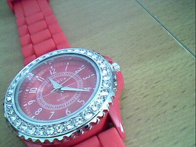 BRAND NEW Geneva Crystal Jewels Quartz Wrist Watch Red Silicone Jelly Strap