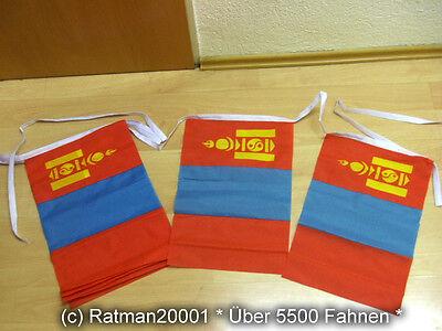 Fahnen Flagge Flaggenkette Mongolei 6 Meter Lang