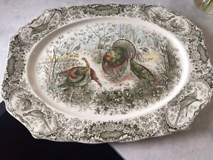 Johnson Bros Discontinued Woodland Wild Turkeys Platter