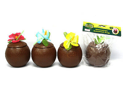 2 x LUAU TROPICAL BEACH HAWAIIAN POOL PARTY SUPPLIES PARTIES PLASTIC COCONUT CUP