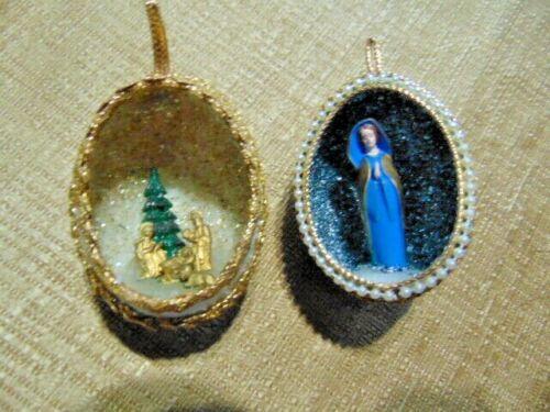 Vtg Diorama Christmas Egg Ornaments Nativity Mary Angel Joseph Jesus rhinestone