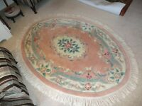 Chinese rug, pure wool, oval, floral pink design with fringe