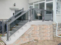 Aluminum and glass railings. Fences gates columns Brampton