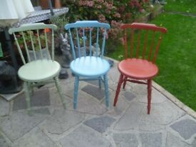 3 x Shabby Chic up-cycled VINTAGE PENNY SEAT CHAIRS in a lovely red, blue & green