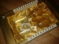 Boxed congratulations golden wedding glass set