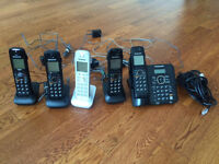 Set of 5 Panasonic Digital Phones + Answering System
