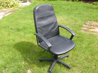 Office chair, black imitation leather, with arms, good condition