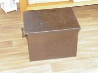Late Victorian iron coal/log box with galvenised liner, wrought iron twist handles, embossed