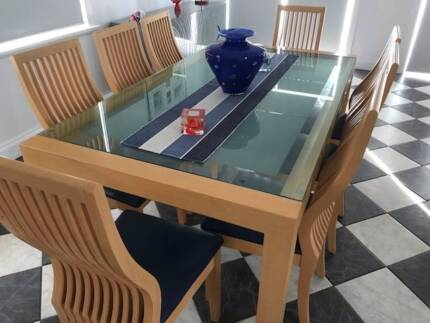 Large Beech And Glass Dining Table With Matching 8 High Chairs