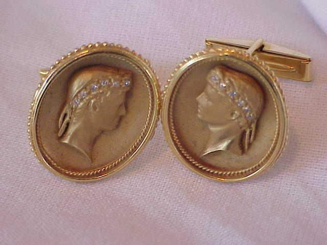 VINTAGE 14K SOLID GOLD DIAMOND ROMAN MEN CUFFLINKS RARE 25 X 29 MM