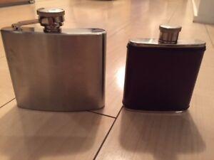 Pair of vintage liquor hip flasks