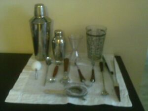 Vintage Glo Hill Barware Set and Ice Bucket