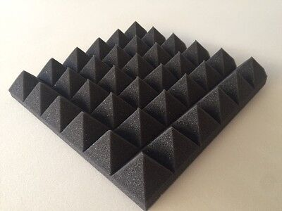 12 pack Pyramid Acoustic Soundproof Studio foam Tiles 2 x 12 x 12(charcoal)