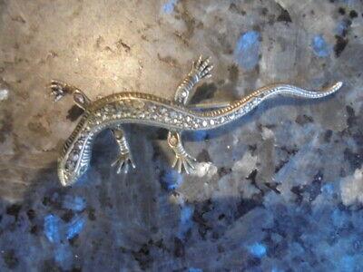superbe broche ancienne en argent 925 et marcassitte. lezard ou salamandre