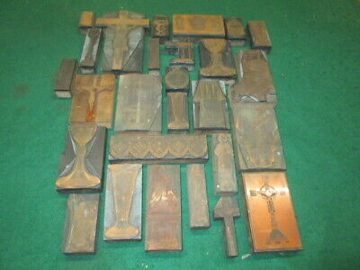 27 Old Copper Printer Blocks Religious Theme Chalice Cross Others Estate Craft