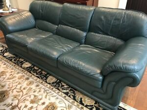 LEATHER COUCH & LOVESEAT  - GREEN