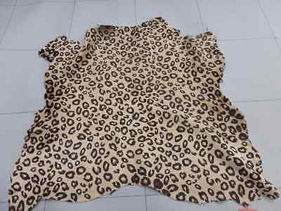 Calfskin leather hide skin pelt Hair On Leopard Print on Tan silky haired