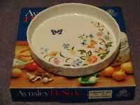 China flan dish with butterfly and flower design