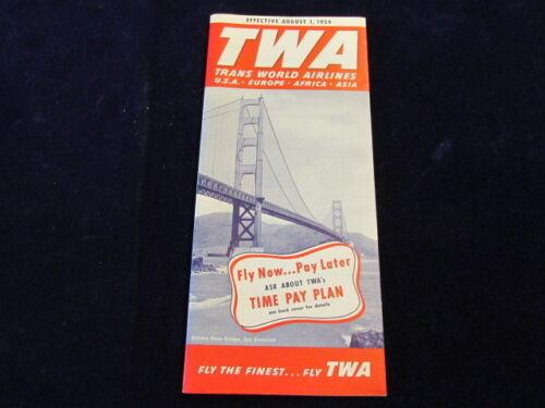 Vtg Aug 1 1954 TWA Trans World Airlines Time Table Domestic & International Q424