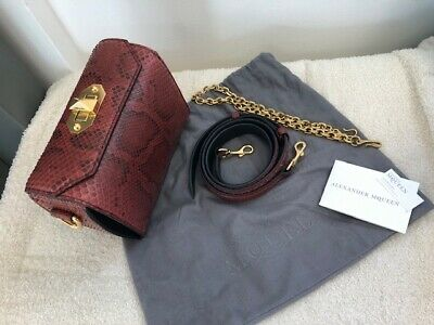 Womens Red Snakeskin Alexander Mcqueen Box Bag