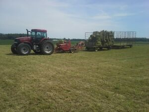 Tractor baler and wagons