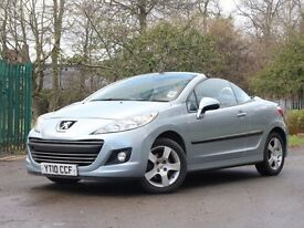 PEUGEOT 207 CC CONVERTIBLE 2010 59K MILES + FULL BLACK LEATHER + 12 MONTH WARRANTY + MOT