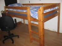 High Sleeper Childs Cabin Bed, with pull out Desk & bookcase