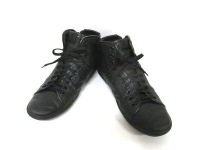 Auth LOUIS VUITTON Black Leather MS0141 Sneakers Men