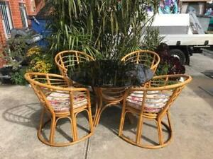 cane dining suite,smoked glass dining table,chairs WE CAN DELIVER