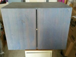 Handmade wooden grey colored cabinet & shelving unit stand