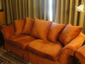 Terracotta 4 seater sofa and arm chair feather filled