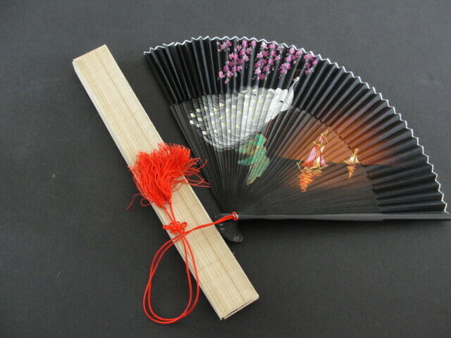 Vintage Japanese Hand Painted Fan with Original Box Peacock and Ships