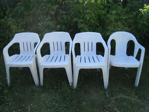 4 white different (3+1) Heavy Duty Plastic patio Chairs, good co