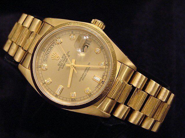 Mens Rolex Day-date President 18k Yellow Gold Watch Bark Champagne Diamond 18078