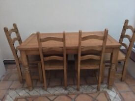 Oak Effect Style Table & Chairs