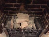 Gas fire With logs and fluer de lye design.