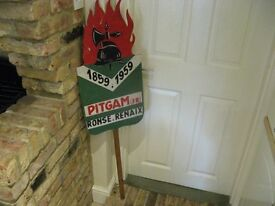 French wooden fireman sign