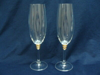 2 Toasting Champagne Flutes Glasses, 3 Gold Ring On Stem 8 3/4