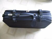 Carlton Medium Suitcase. Navy blue with wheels and pull along handle