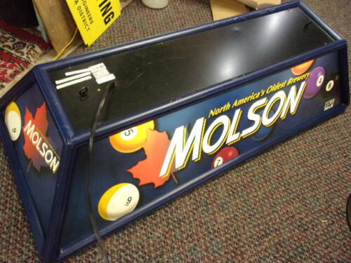 MOLSON  Beer Pool Table Lamp Fixture Man Cave Bar Light Works ,has pull switch