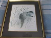Framed signed - Mads Stage. Prints of Otter and Marten Good Condition