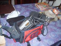 sony video camera older style hardly used complete with hand book case and cassettes
