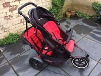Phil & Teds Explorer black/red double-seat jogger/pushchair/stroller & carrycot.